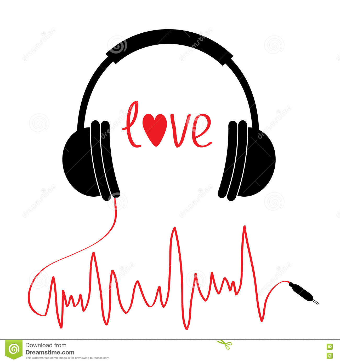 Black headphones icon with red cord in shape of cardiogram. . Love card. Text heart. Flat design. White background.