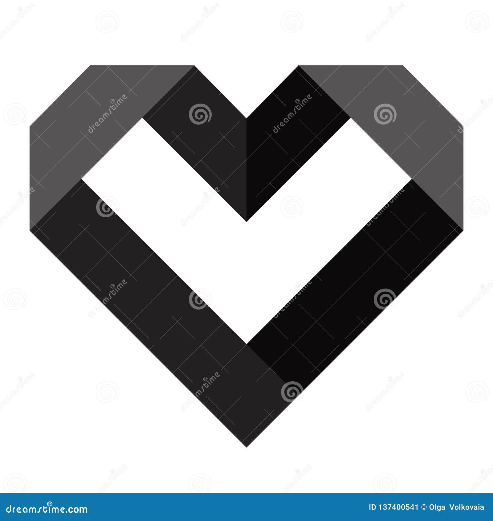Black heart icon, love icon