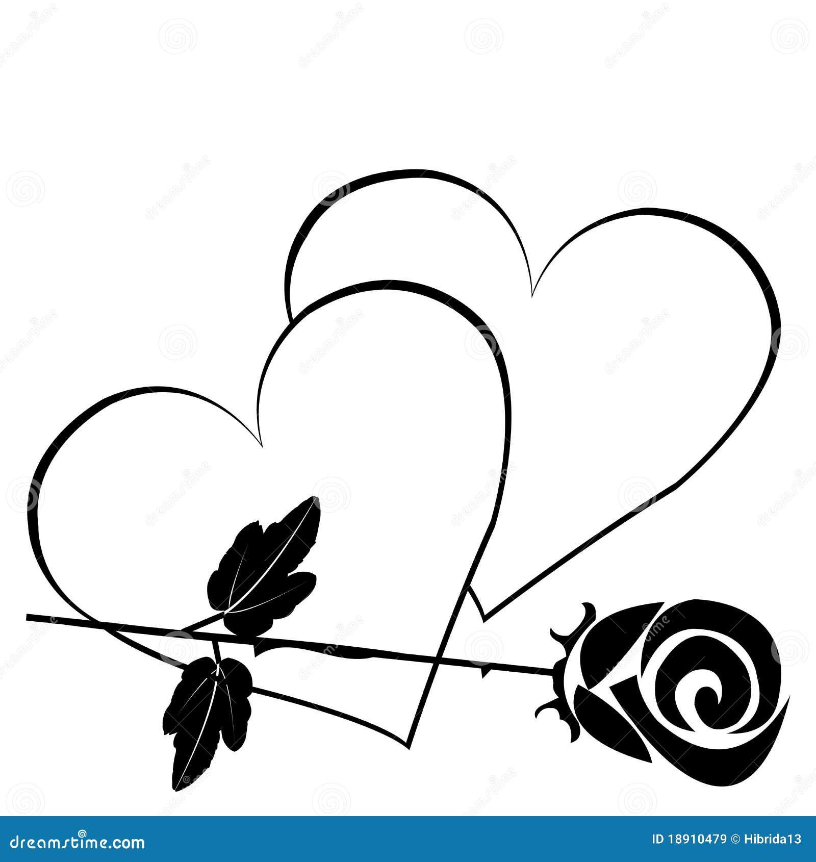 Black hearts with rose stock illustration. Illustration of ...