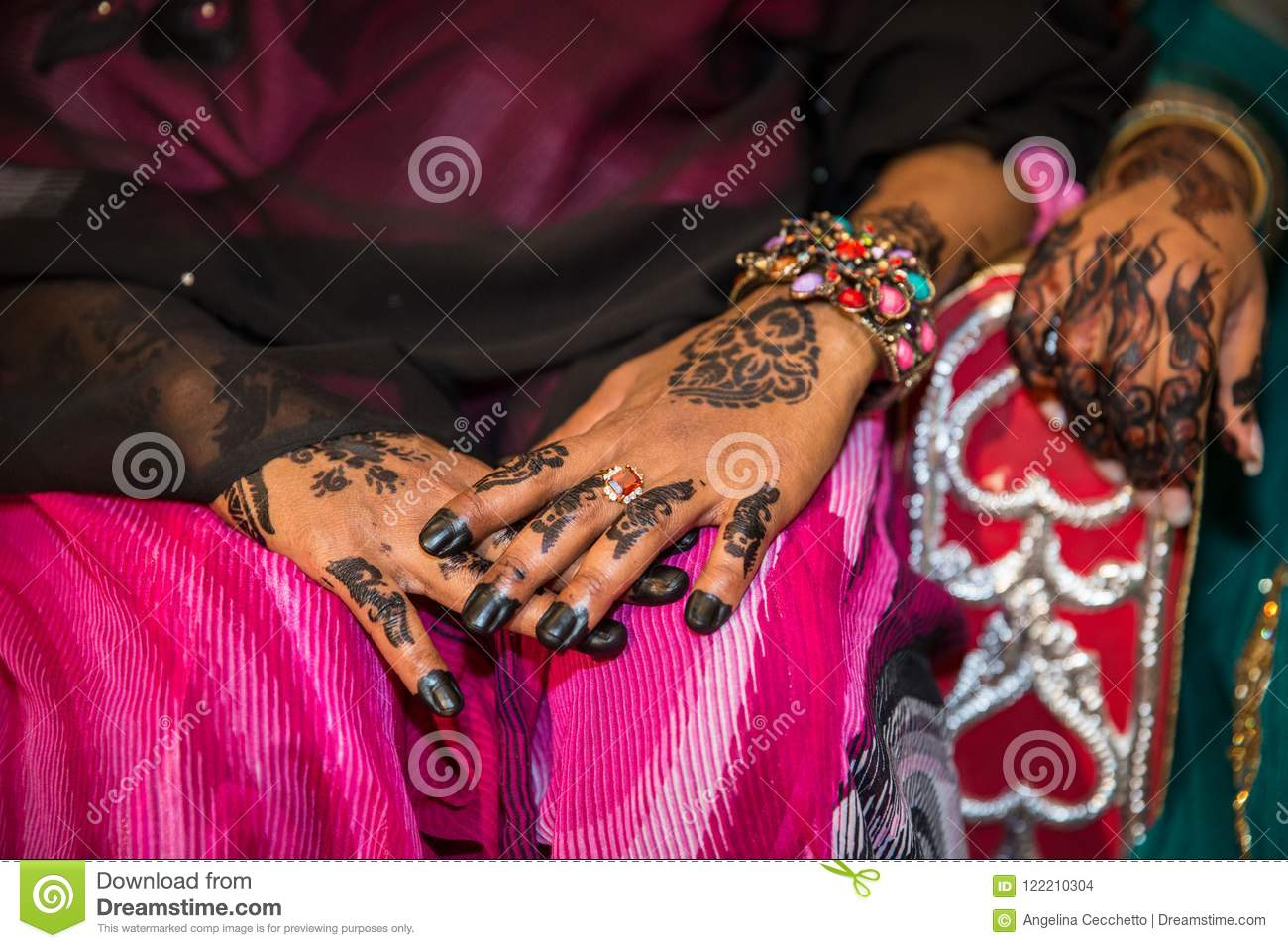 Black Henna Hands Drawings On Women For African Wedding Ceremony