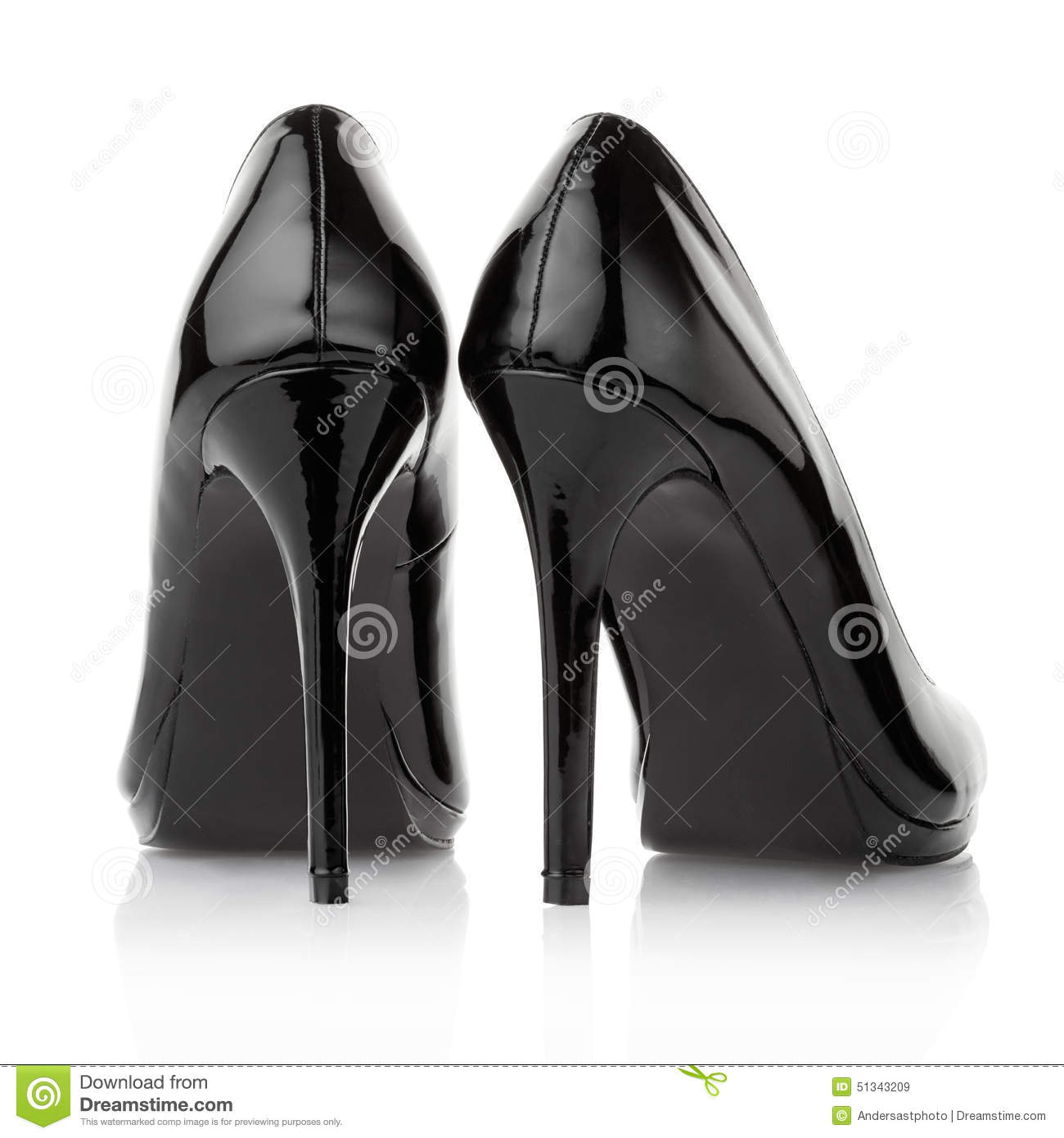 Black High Heel Shoes Back View Stock Photo - Image: 51343209