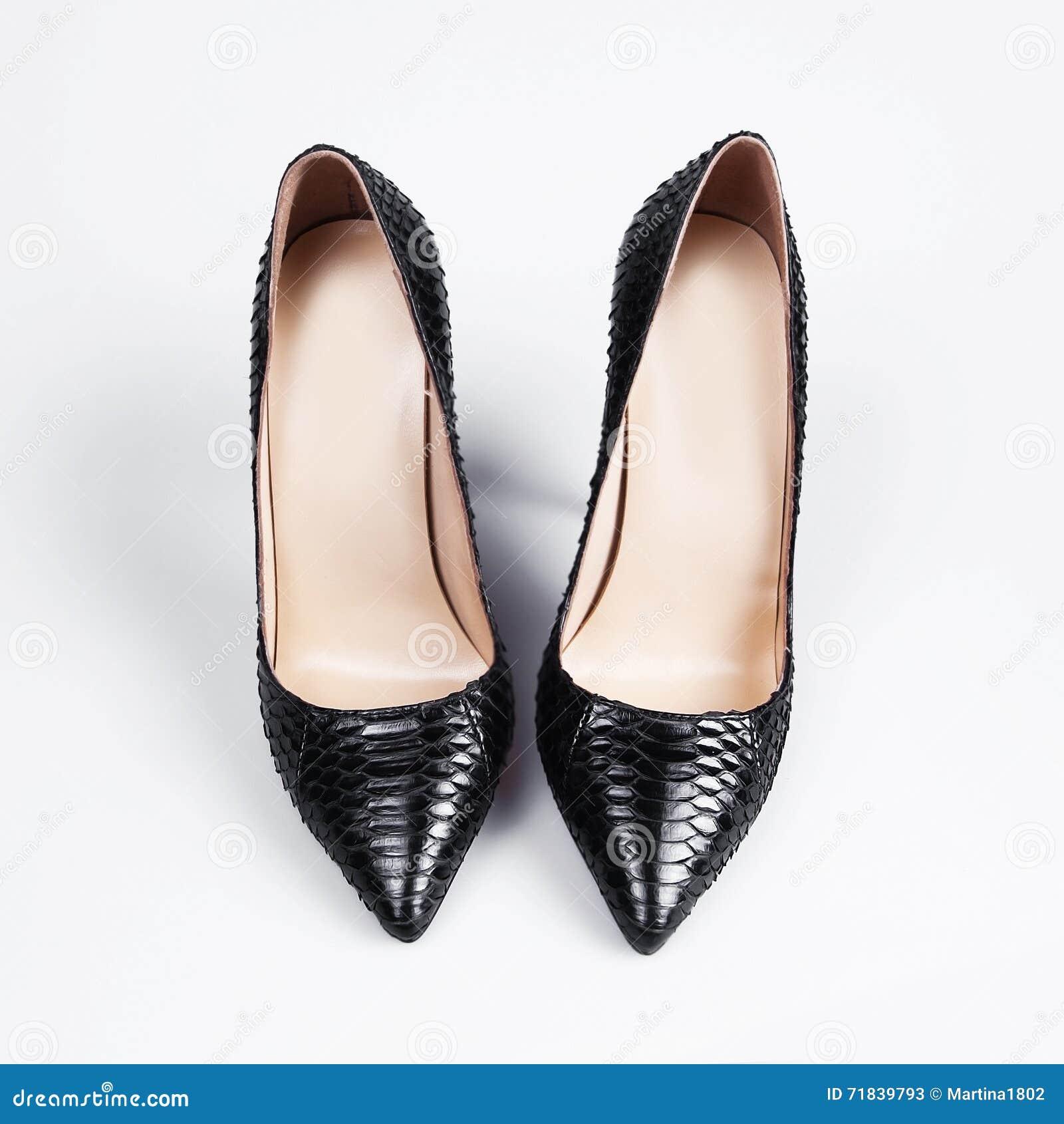 438d9449f55e Black High Heel Women Shoes On White Backgroun Stock Image - Image ...