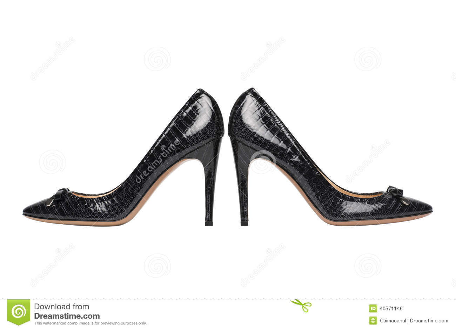 black high heel shoes on white stock photo image