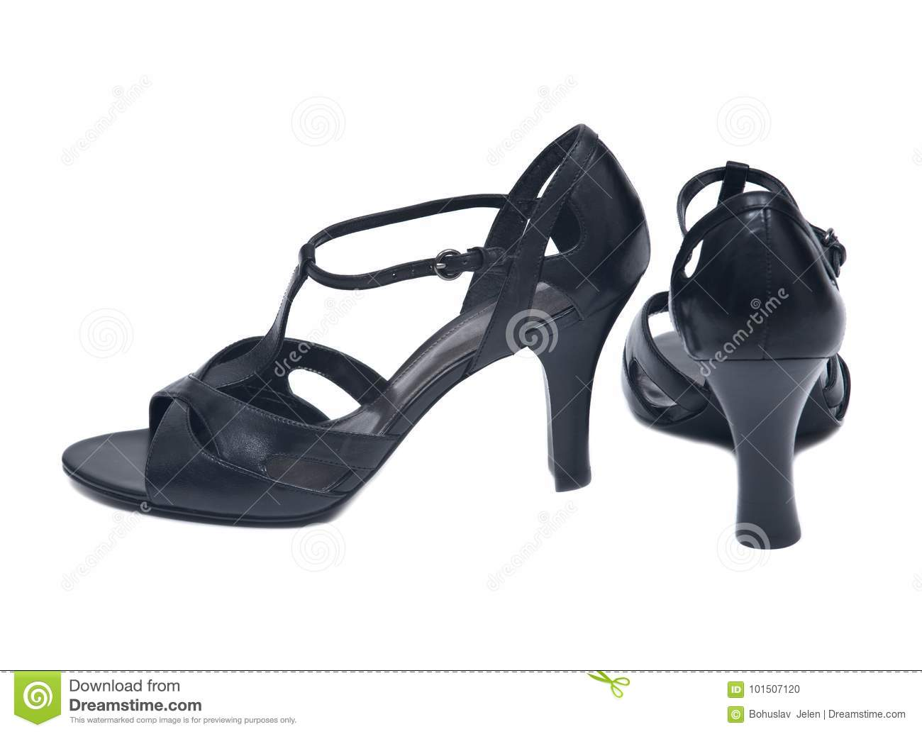 1851367e01e6 Black high hills elegant leather woman shoes isolated on white background.  More similar stock images