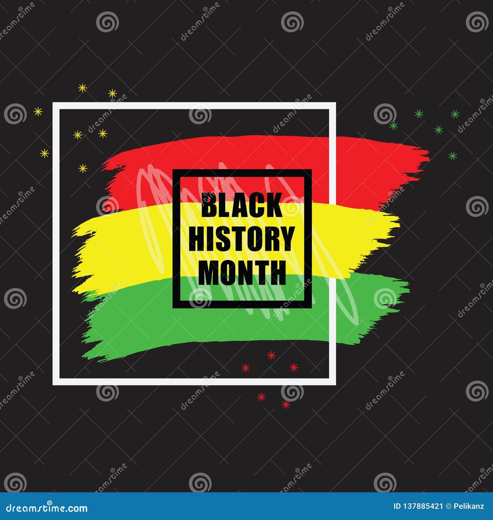 Black History Month Colorful Emblem Banner Design Element On Black Stock Vector