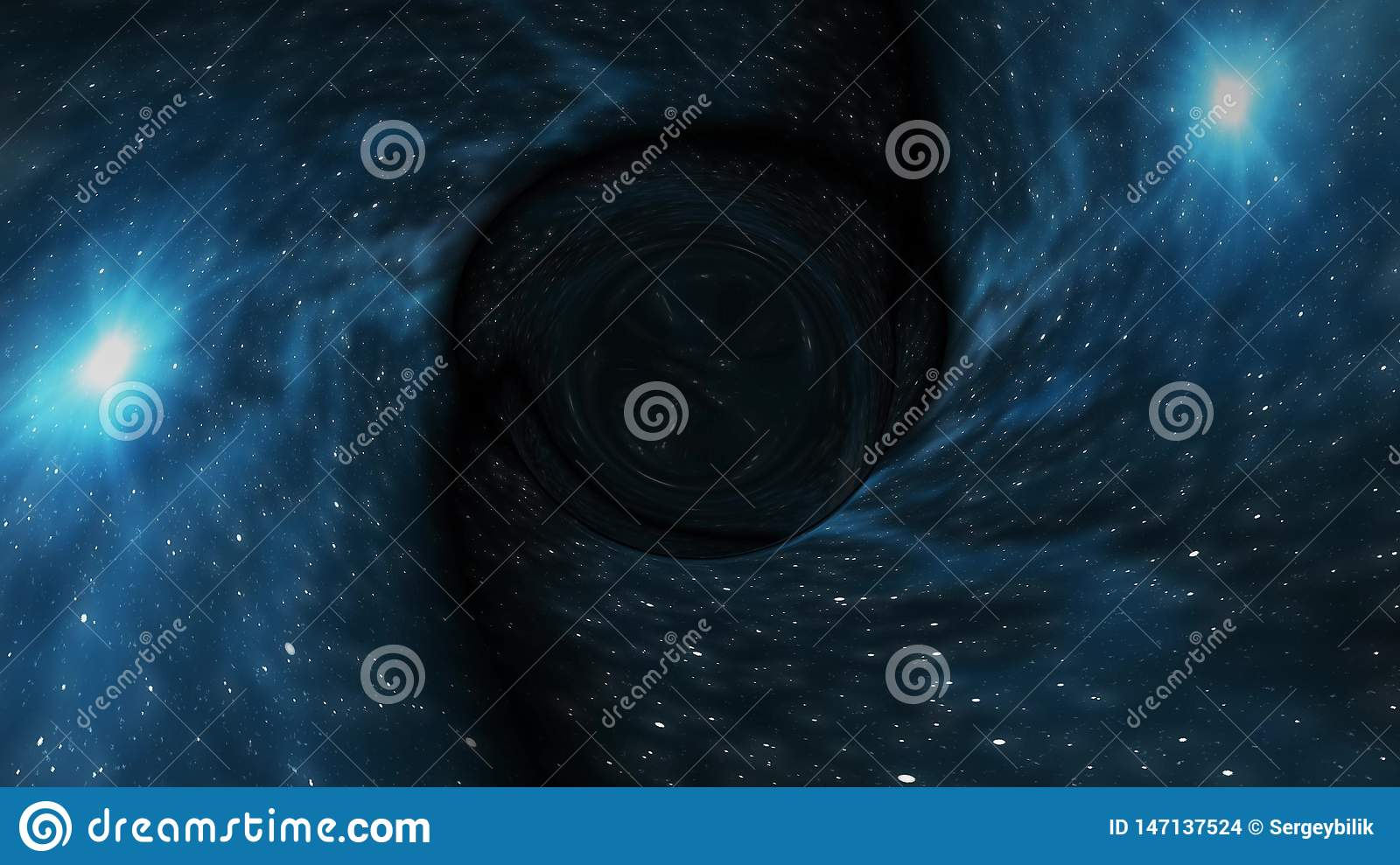 Black Hole Pulls In Star Space Time Funnel Pit Illustration