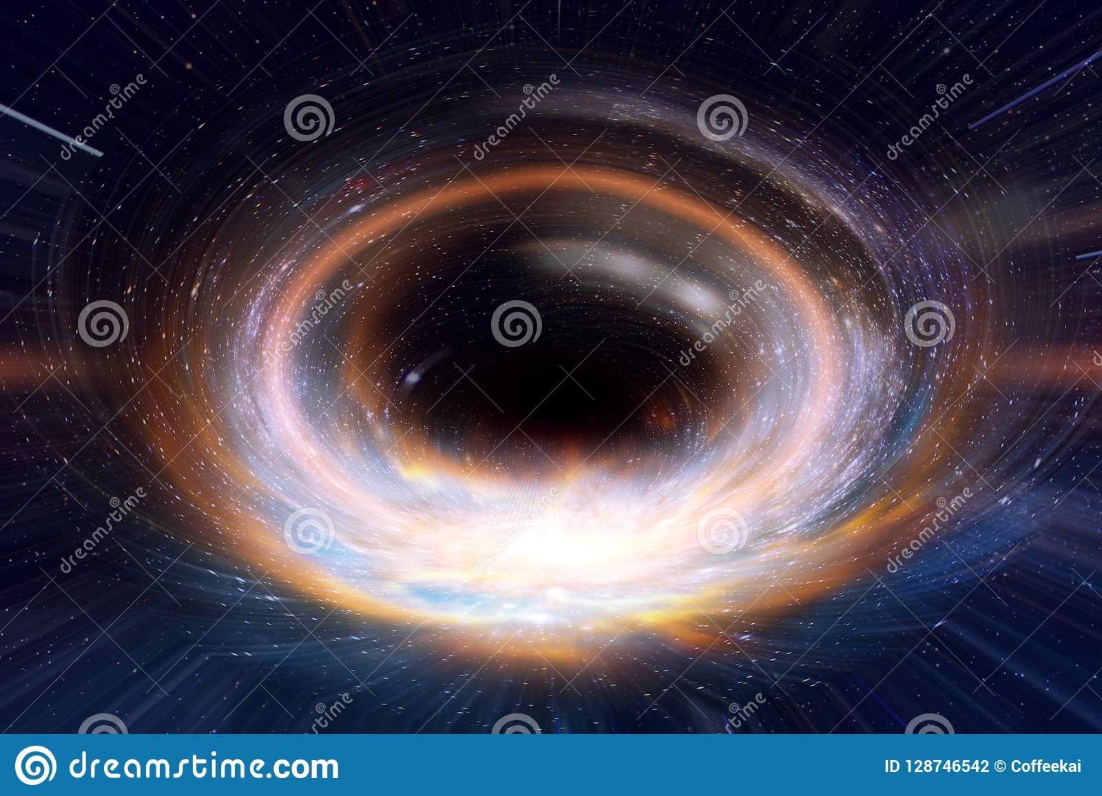 Black hole or wormhole in galaxy space and times across in the universe concept art