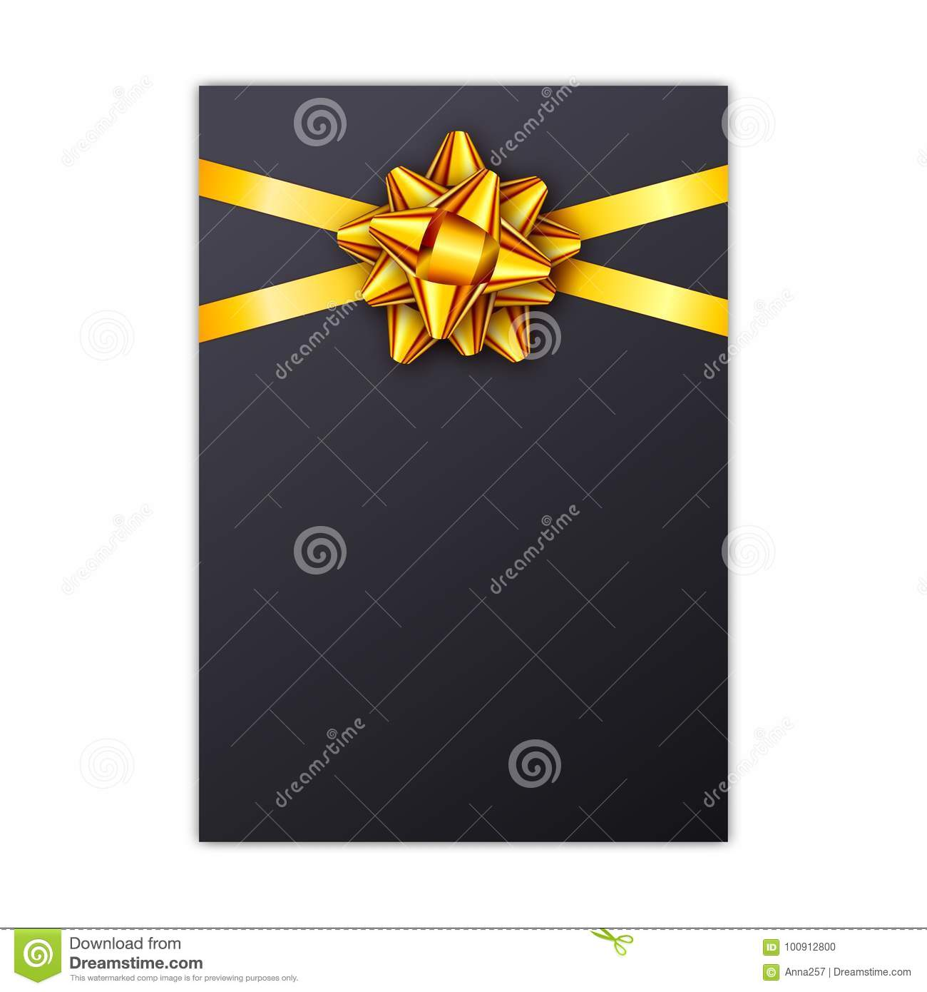 Black Holiday Gift Card With Golden Ribbon And Bow Template For A
