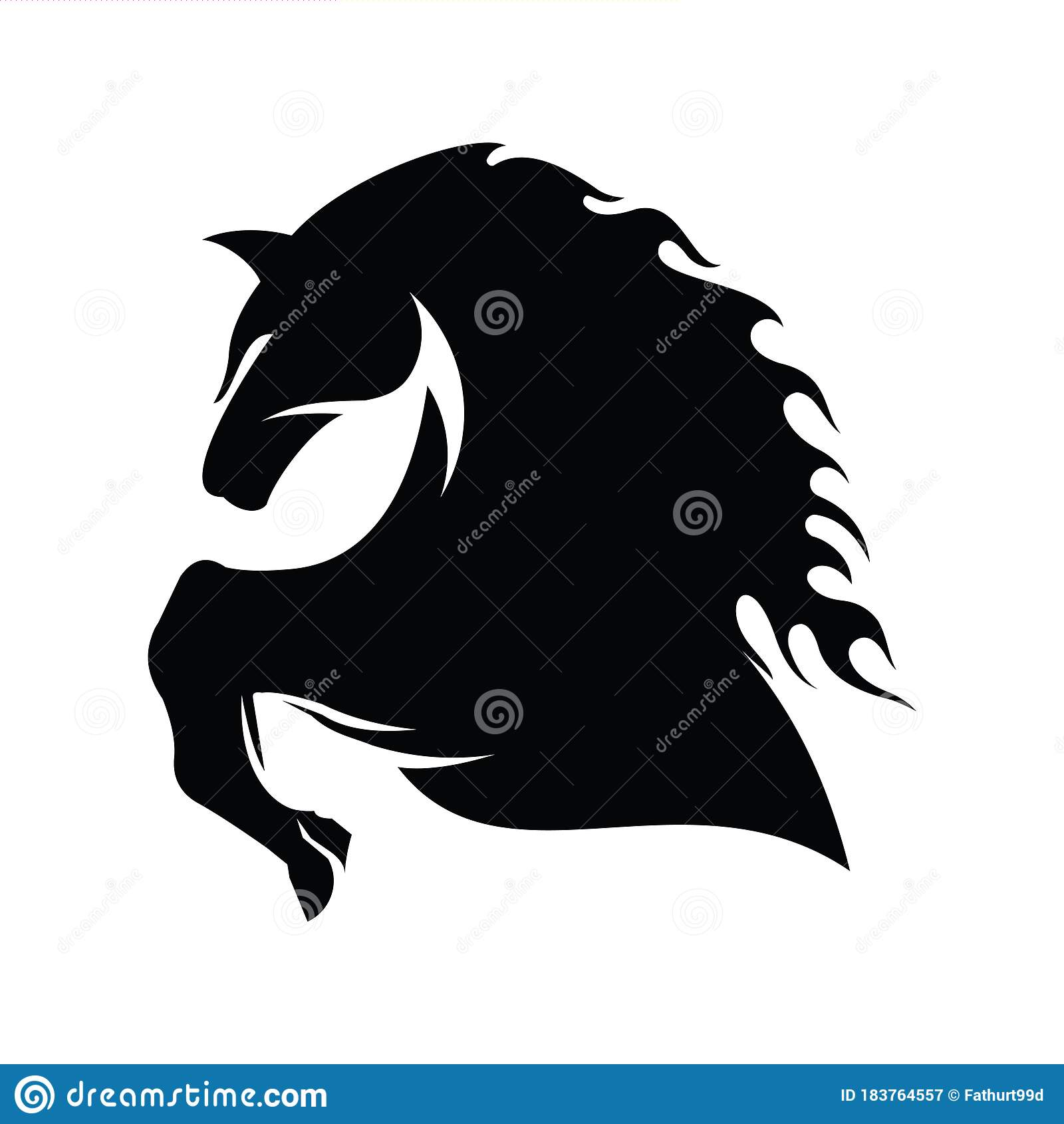 Black Horse Logo Design Stock Vector Illustration Of Icon 183764557