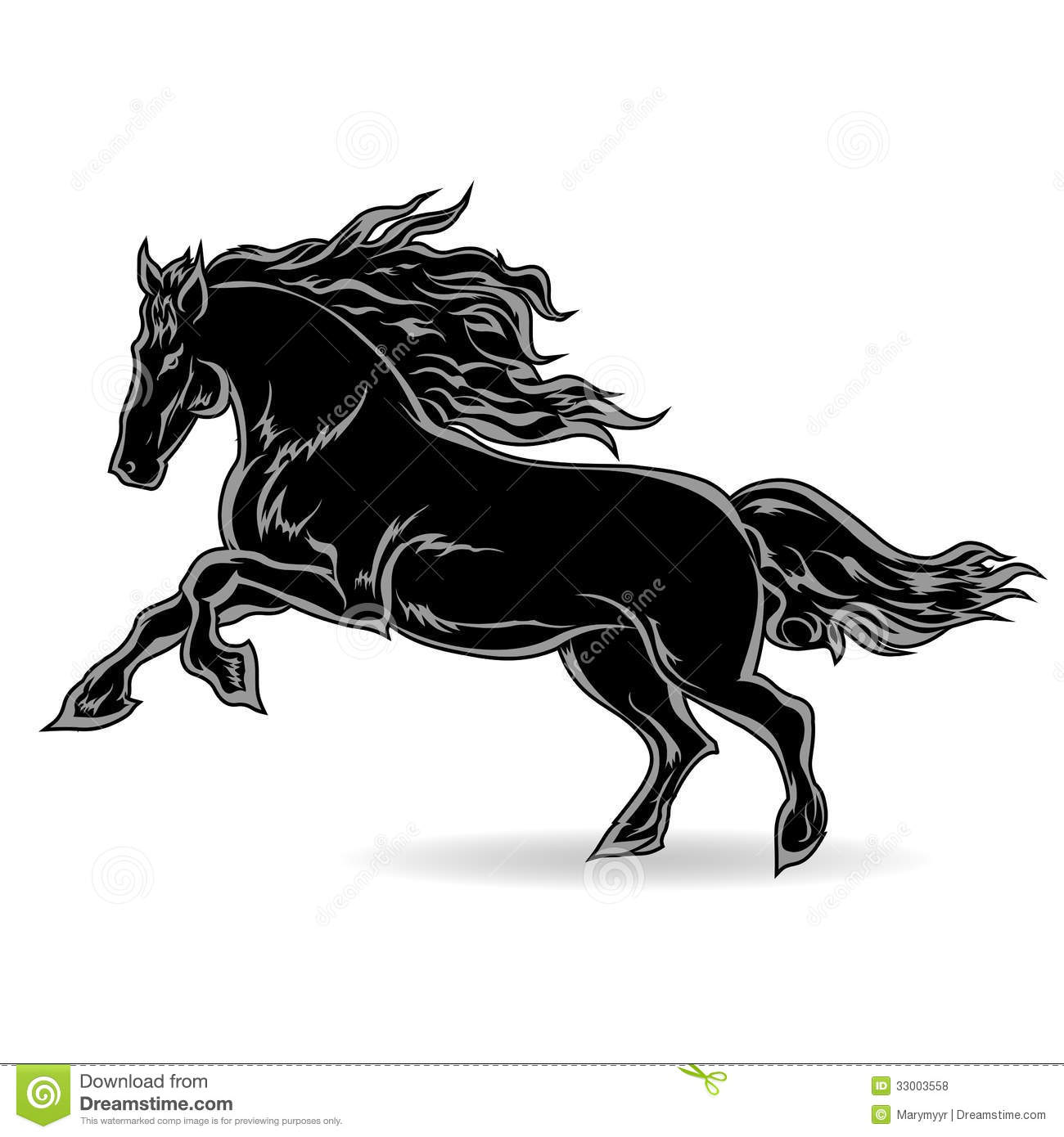 Black and white graphic, stylized image of a horse, a symbol of 2014 ...
