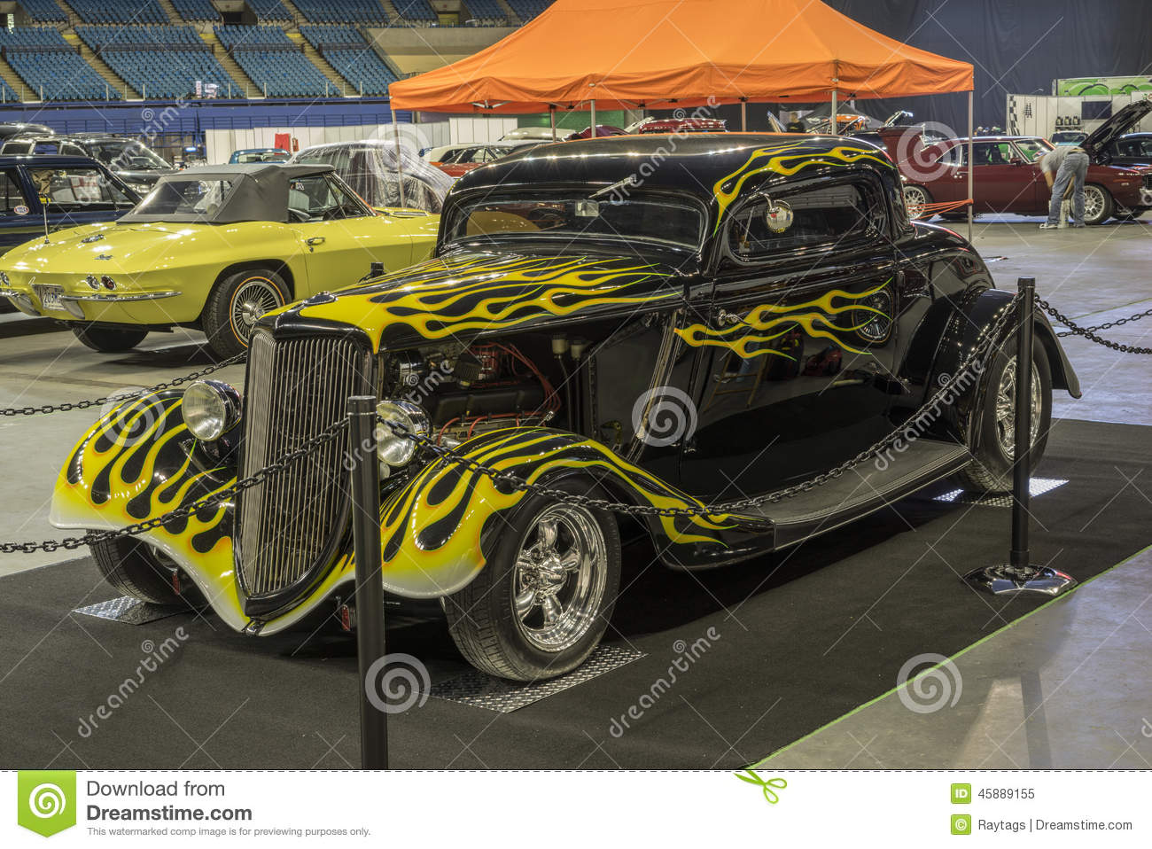 Black Hot Rod With Yellow Flames Editorial Image - Image of ...