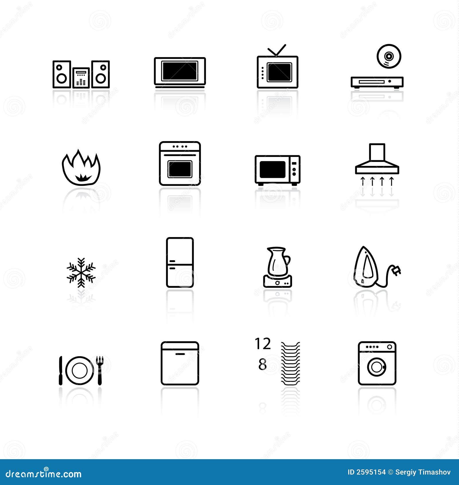 black household appliances ico stock images