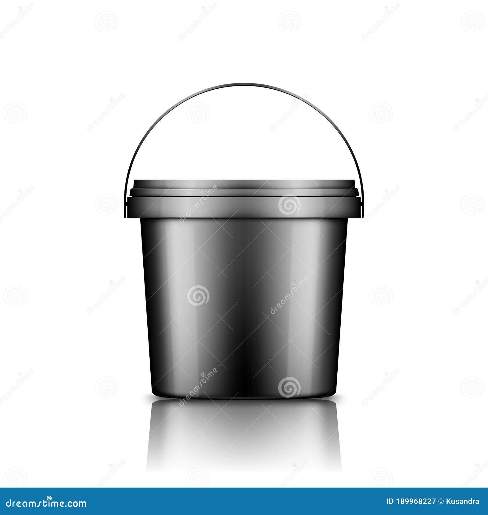 Black Ice Cream Yoghurt Mayo Or Paint Bucket With Handle Mockup Isolated On White Background Stock Vector Illustration Of Black Construction 189968227