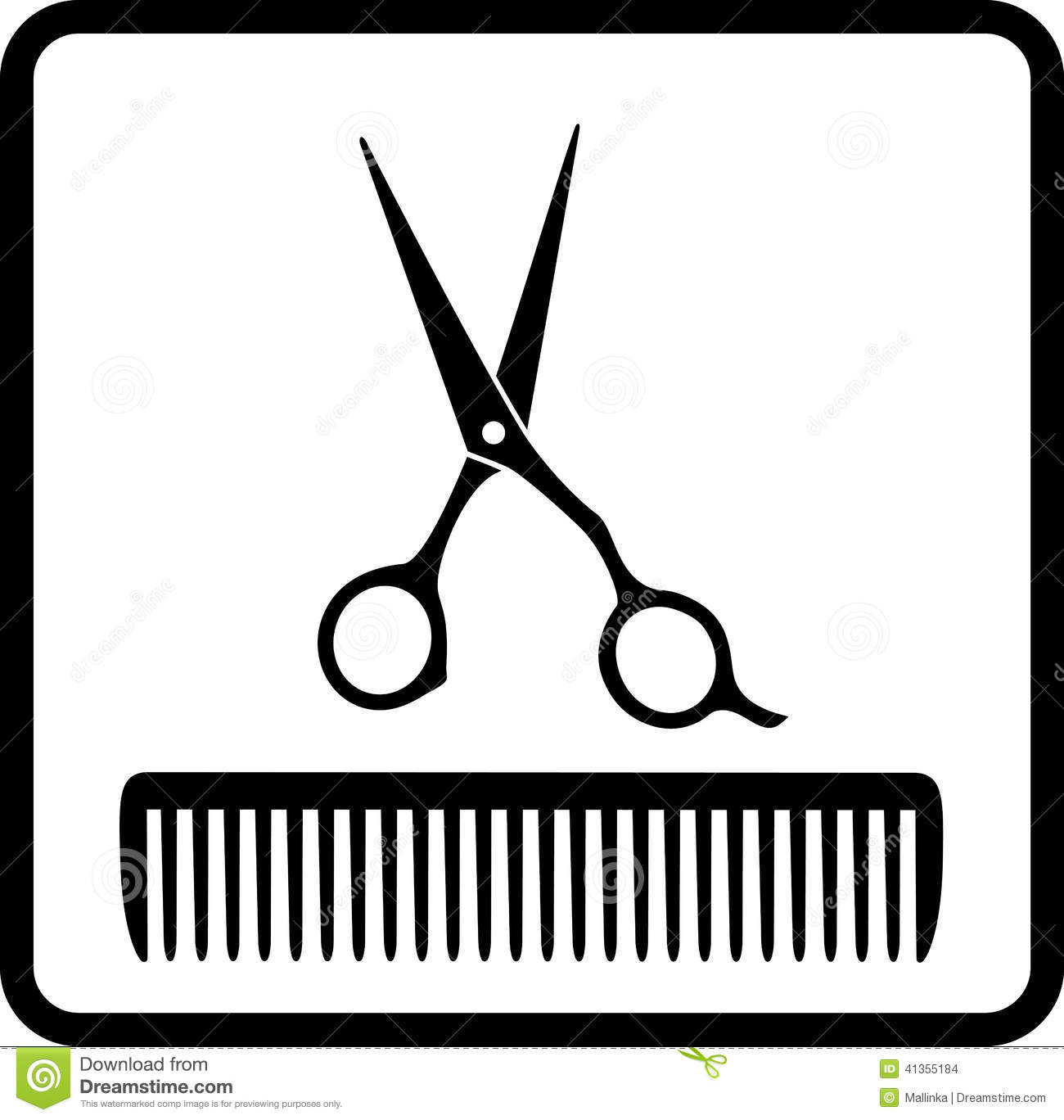 Black Icon With Scissors And Comb Stock Vector - Image: 41355184