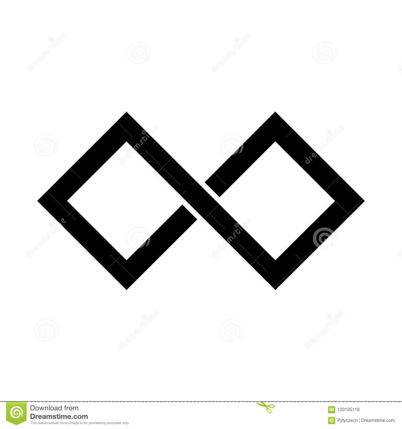 8d403a1401649 Black infinity symbol icon. Rectangular shape with sharp corners. Simple  flat vector design element. More similar stock illustrations