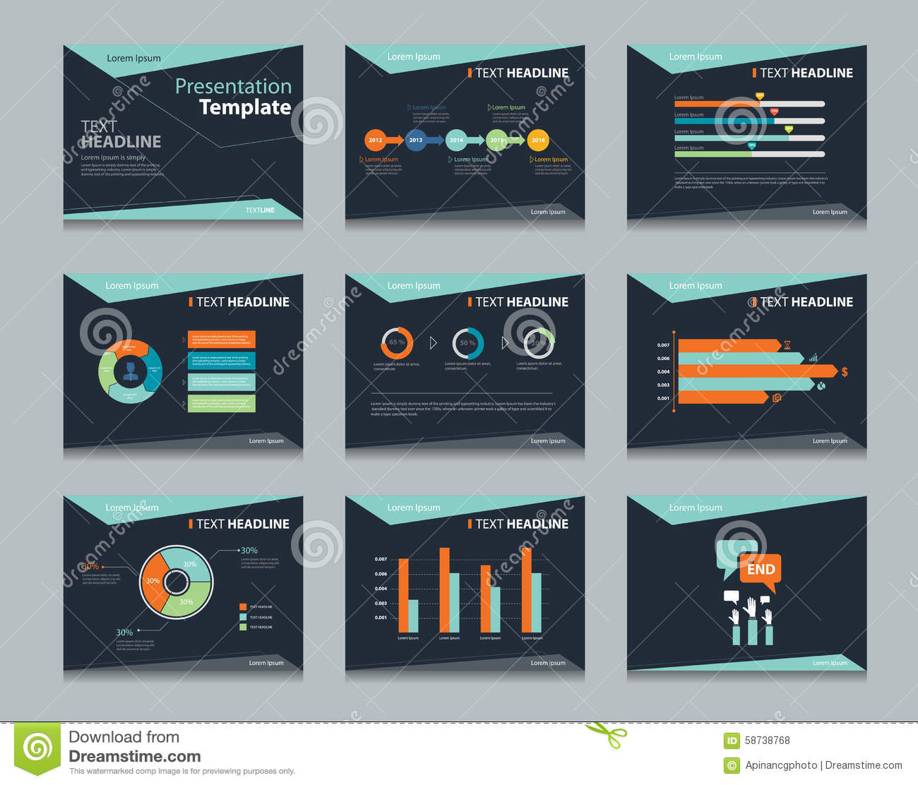 black infographic powerpoint template design backgrounds business presentation template set