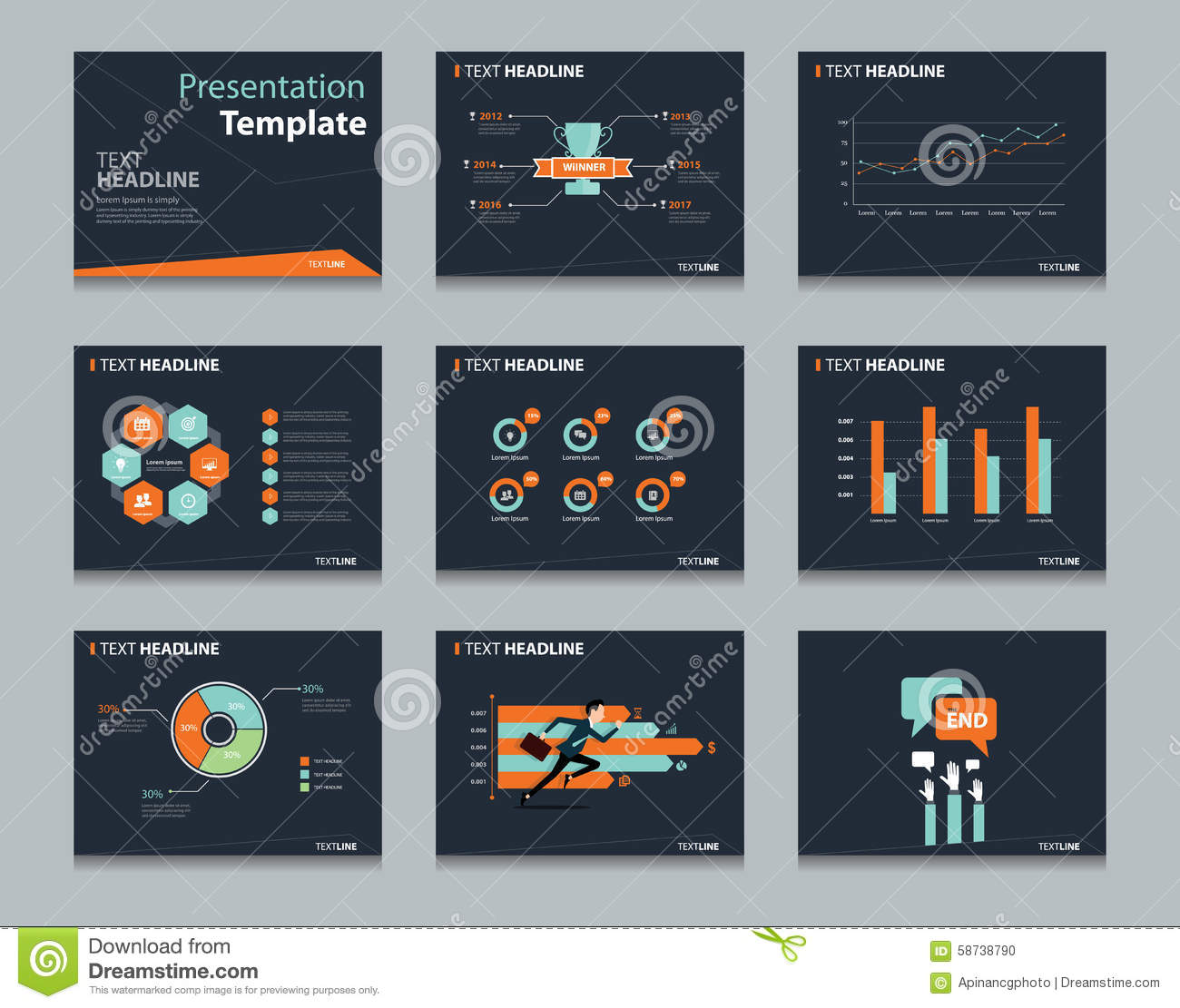 Business presentation and powerpoint template slides background black infographic powerpoint template design backgrounds business presentation template set stock photo flashek Choice Image