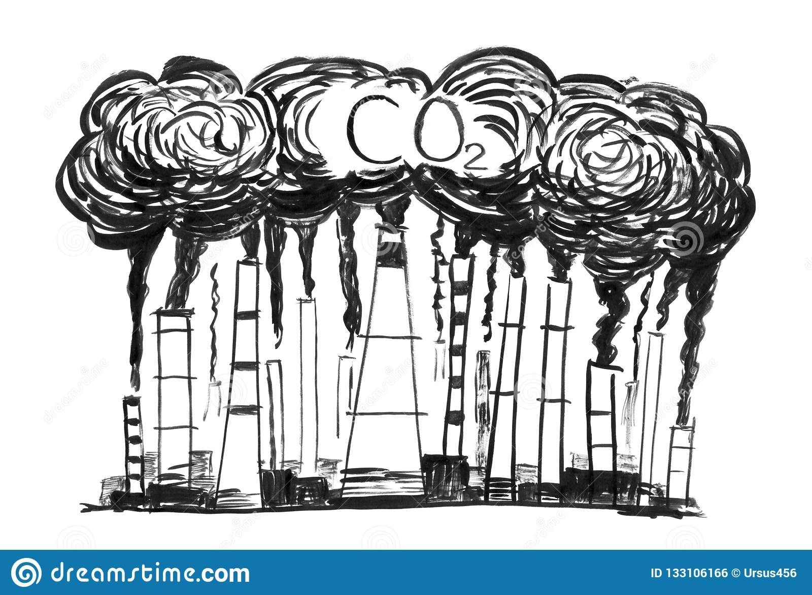 Black brush and ink artistic rough hand drawing of smoke coming from industry or factory smokestacks or chimneys into air environmental concept of carbon