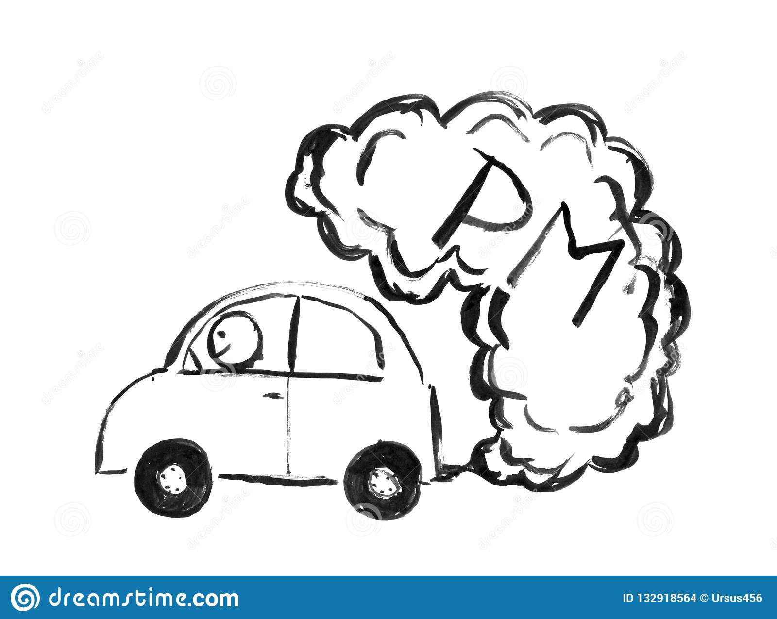 Black brush and ink artistic rough hand drawing of smoke coming from car exhaust into air environmental concept of pm or particulate matter pollution