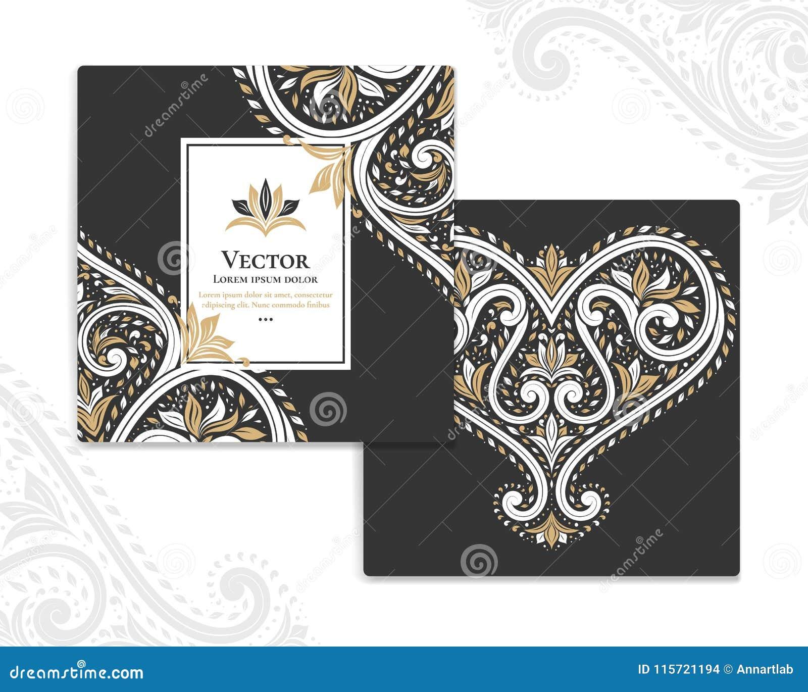 Black Invitation Cards With Ornamental Heart Stock Vector