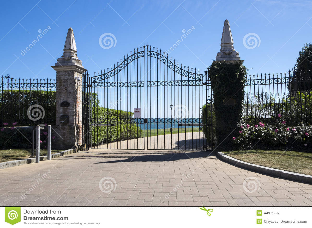 Black iron gate stock photo image