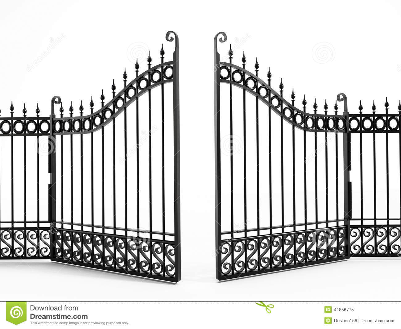Black iron gate stock illustration of