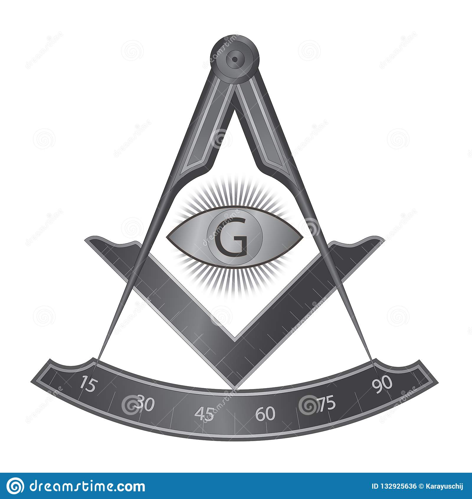 Black Iron Masonic Square And Compass Symbol Stock Vector
