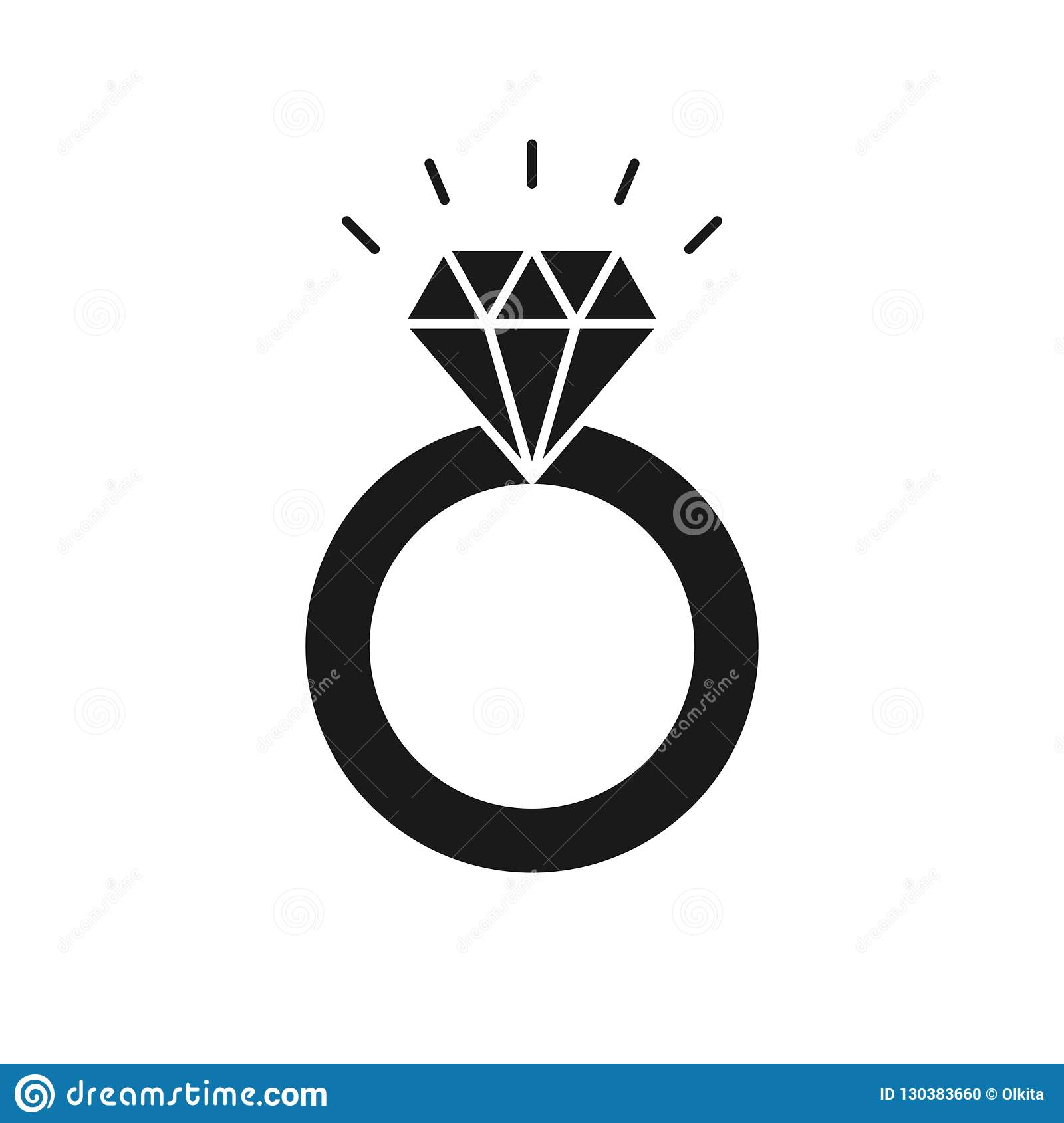 Black Isolated Icon Of Ring With Diamond On White Background Silhouette Of Wedding Ring Flat Design Stock Vector Illustration Of Luxury Carat 130383660