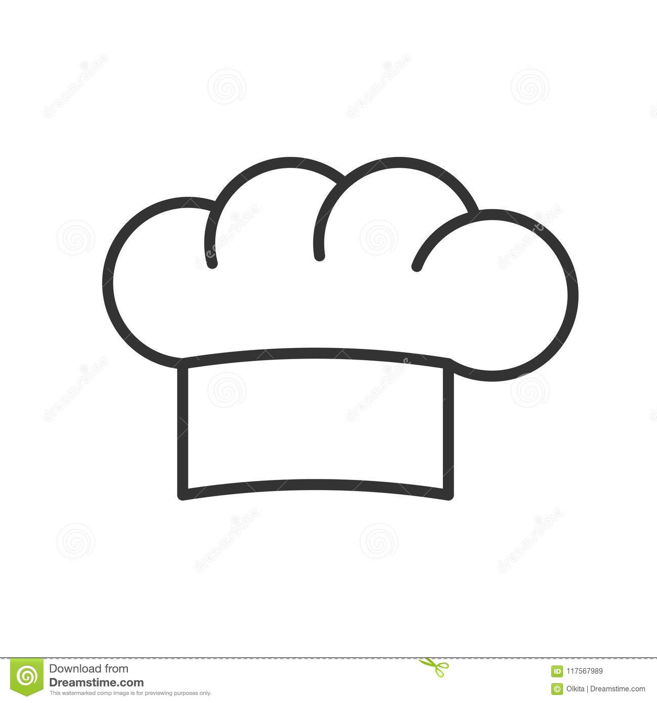 Black Isolated Outline Icon Of Hat Of Chef On White Background