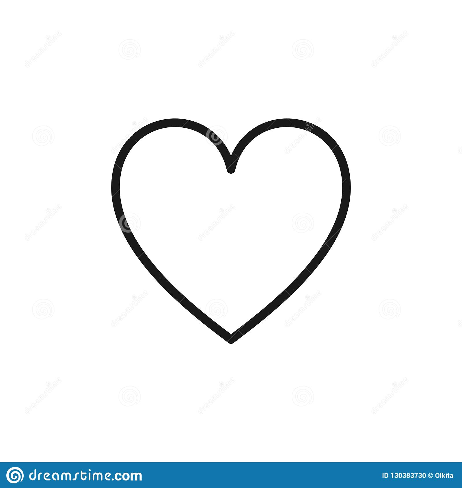Black Isolated Outline Icon Of Heart On White Background
