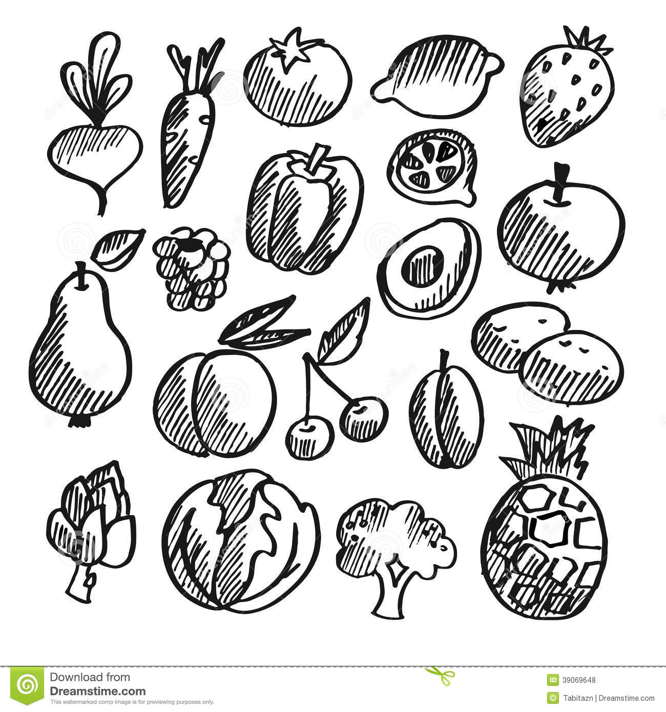Black Isolated Vegetables, Fruits Doodle Icons Stock
