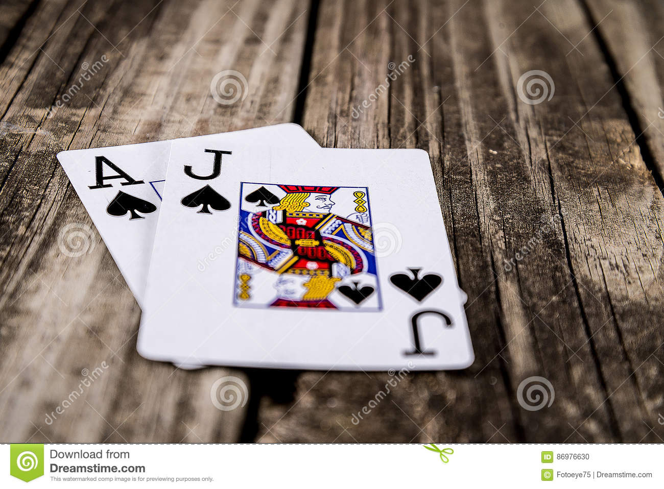 Black Jack Poker on Wood stock photo  Image of entertaining - 86976630