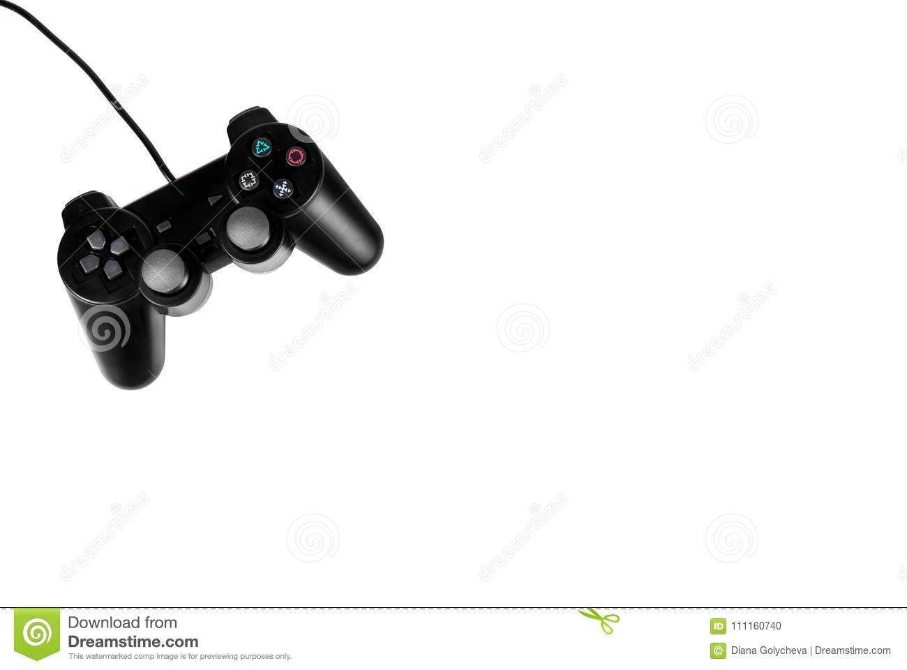 Black joystick on white background. Entertainment and video games. GamePad isolated on white