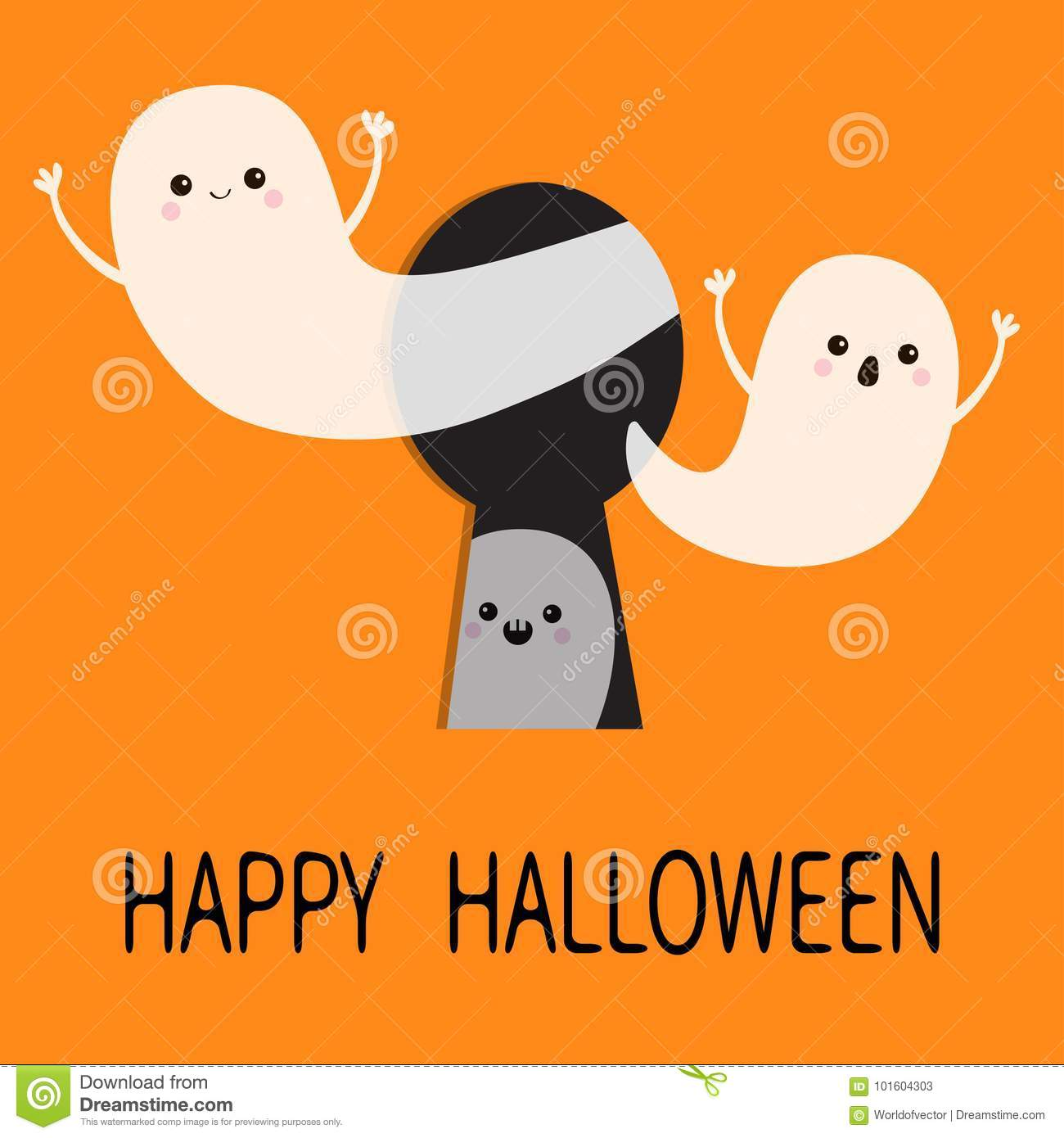 flying ghost spirit set happy halloween three scary white ghosts key hole cute cartoon spooky character face frightening hands orange background