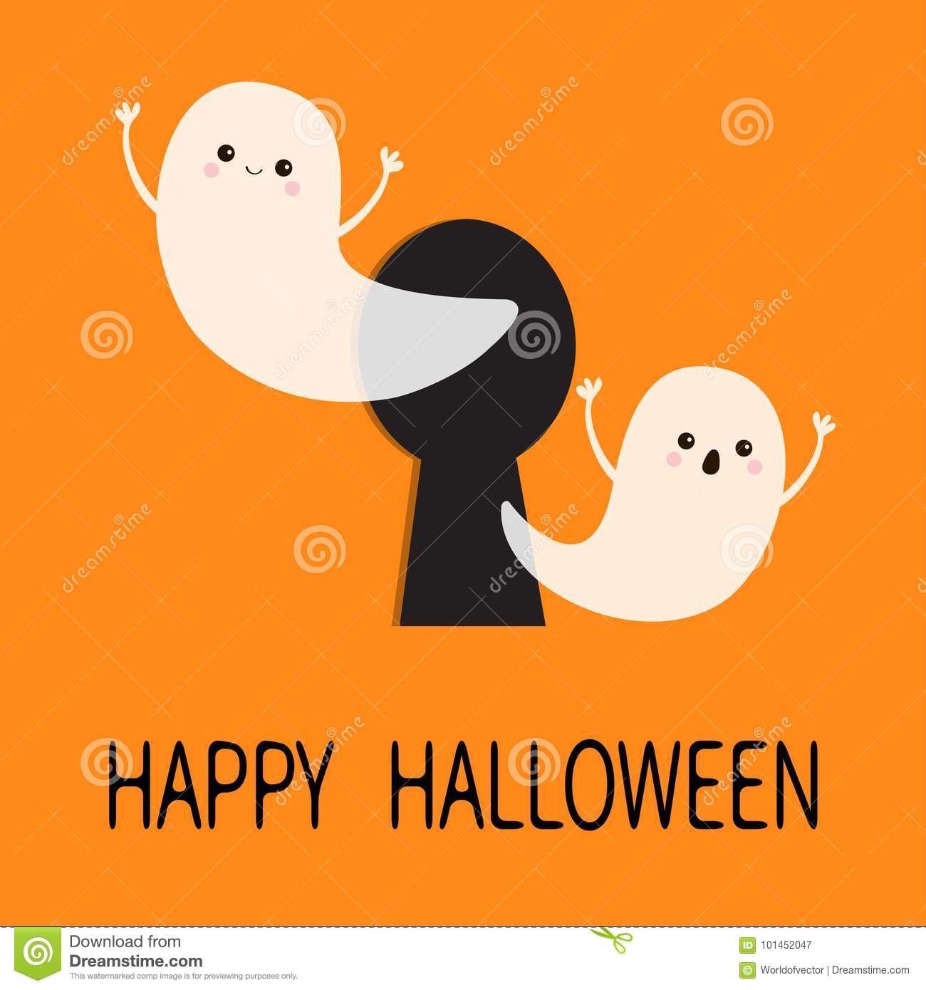 happy halloween two scary white ghosts key hole cute cartoon spooky character face frightening hands orange background greeting card flat design