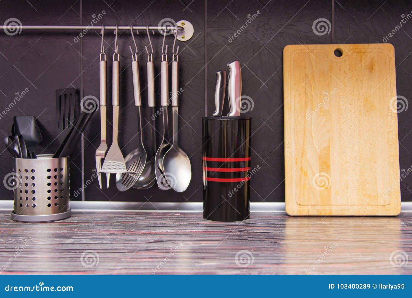 Black Kitchen With Kitchen Utensils Stock Image - Image of ...