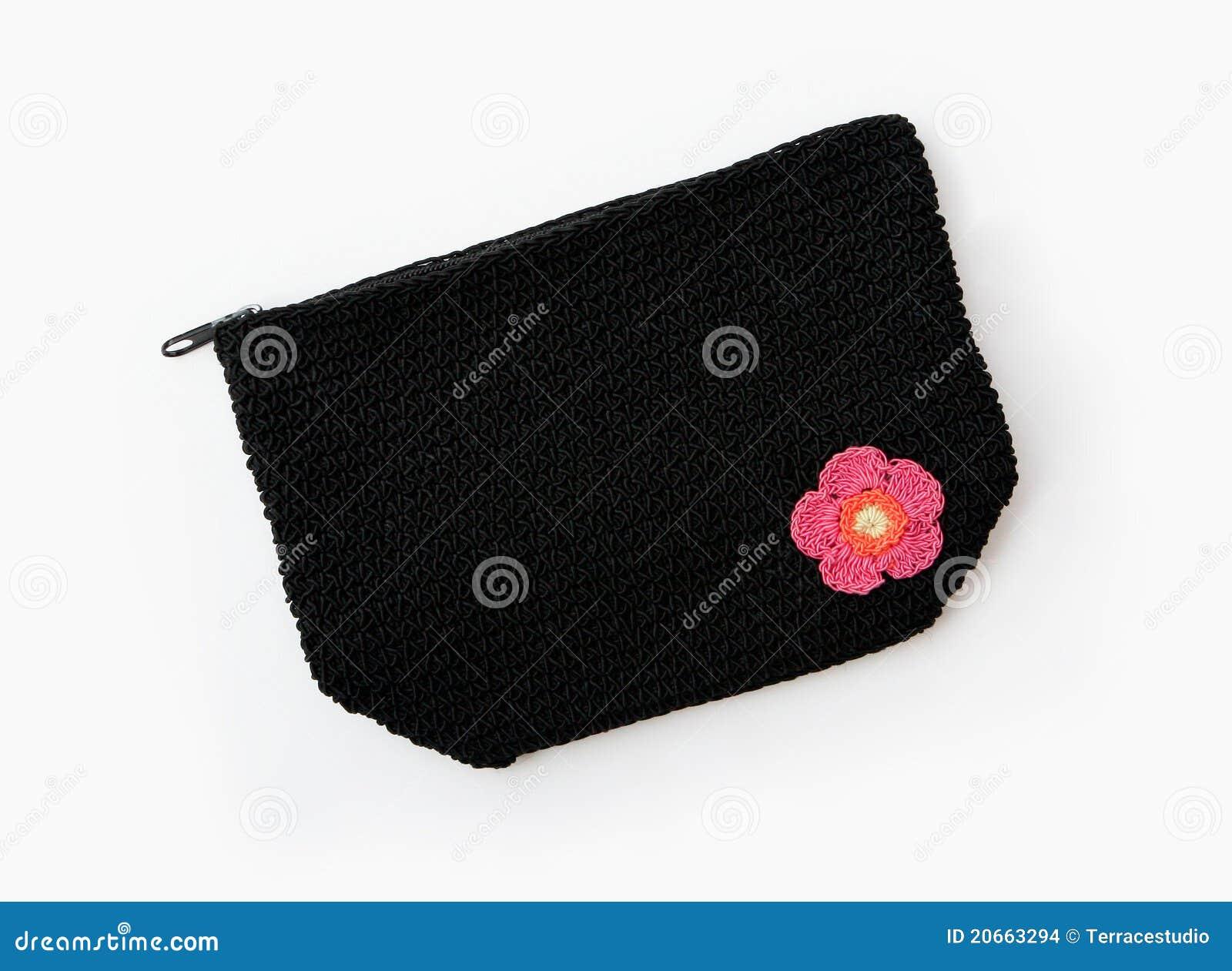 Knitting Pattern Makeup Bag : Black Knit Makeup Or Accessory Bag Stock Images - Image: 20663294