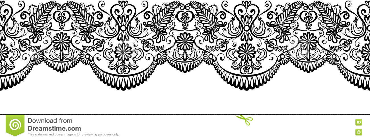 Black Lace Border Stock Vector Illustration Of Isolated 72998370