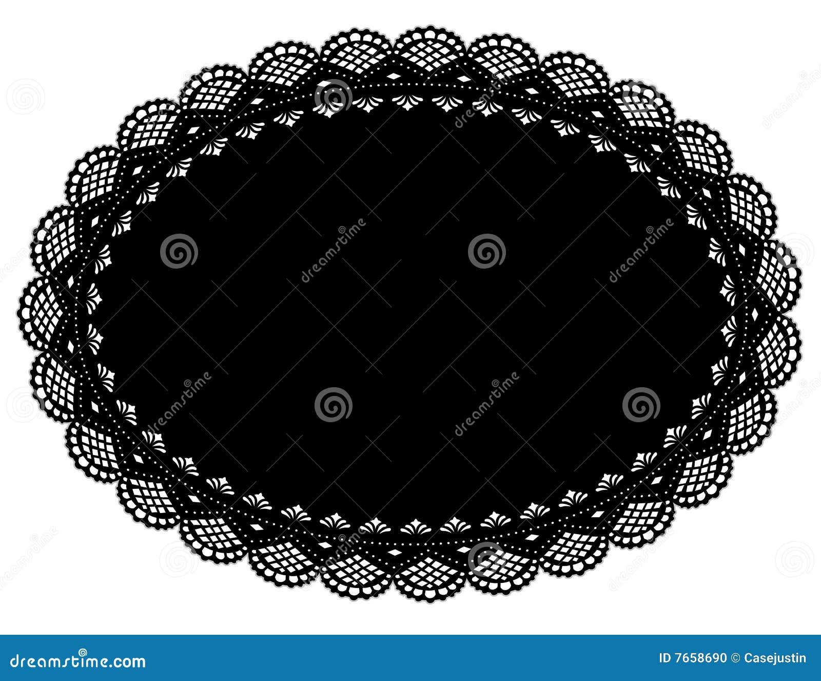Black Lace Doily Place Mat
