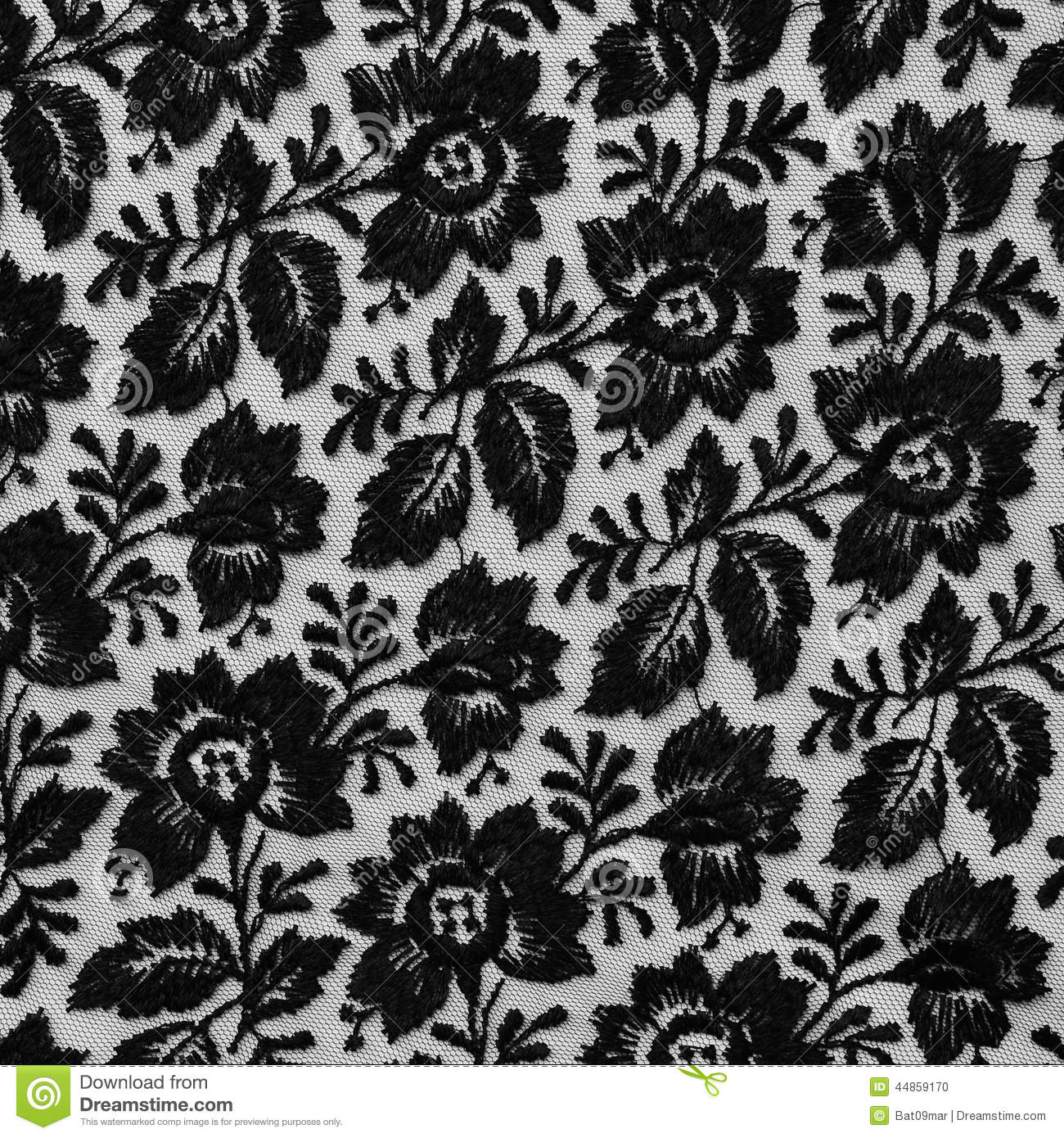 Black lace fabric with flowers stock photo image 44859170