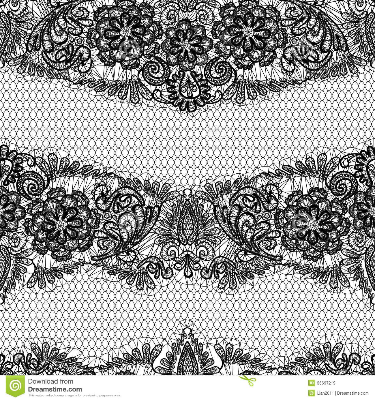 Black Lace seamless pattern with flowers on white