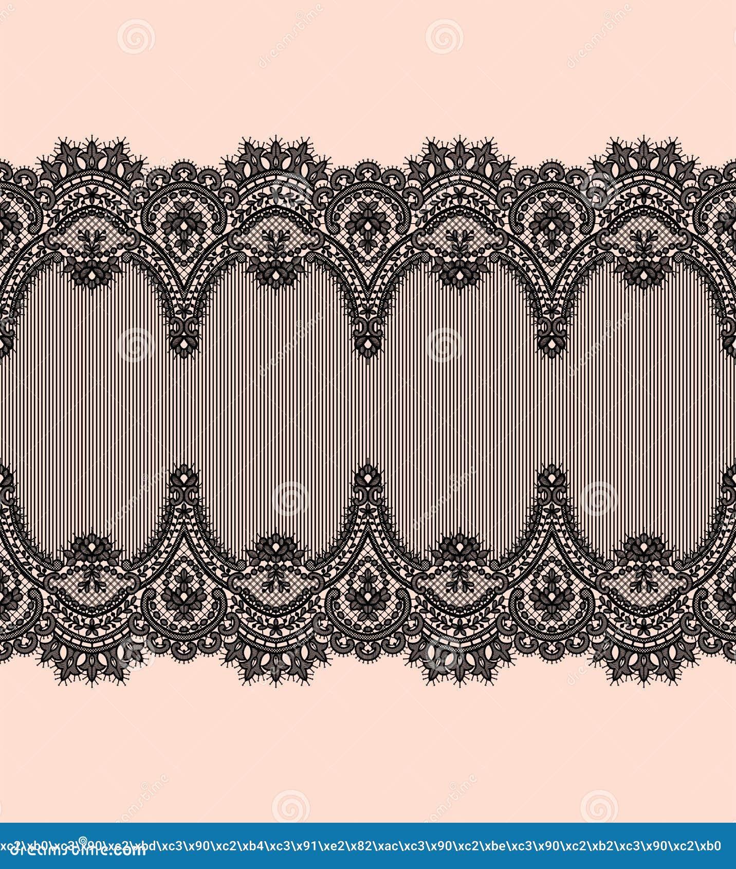 Black Lace Vector Pattern. Horizontal Ribbon. Border.