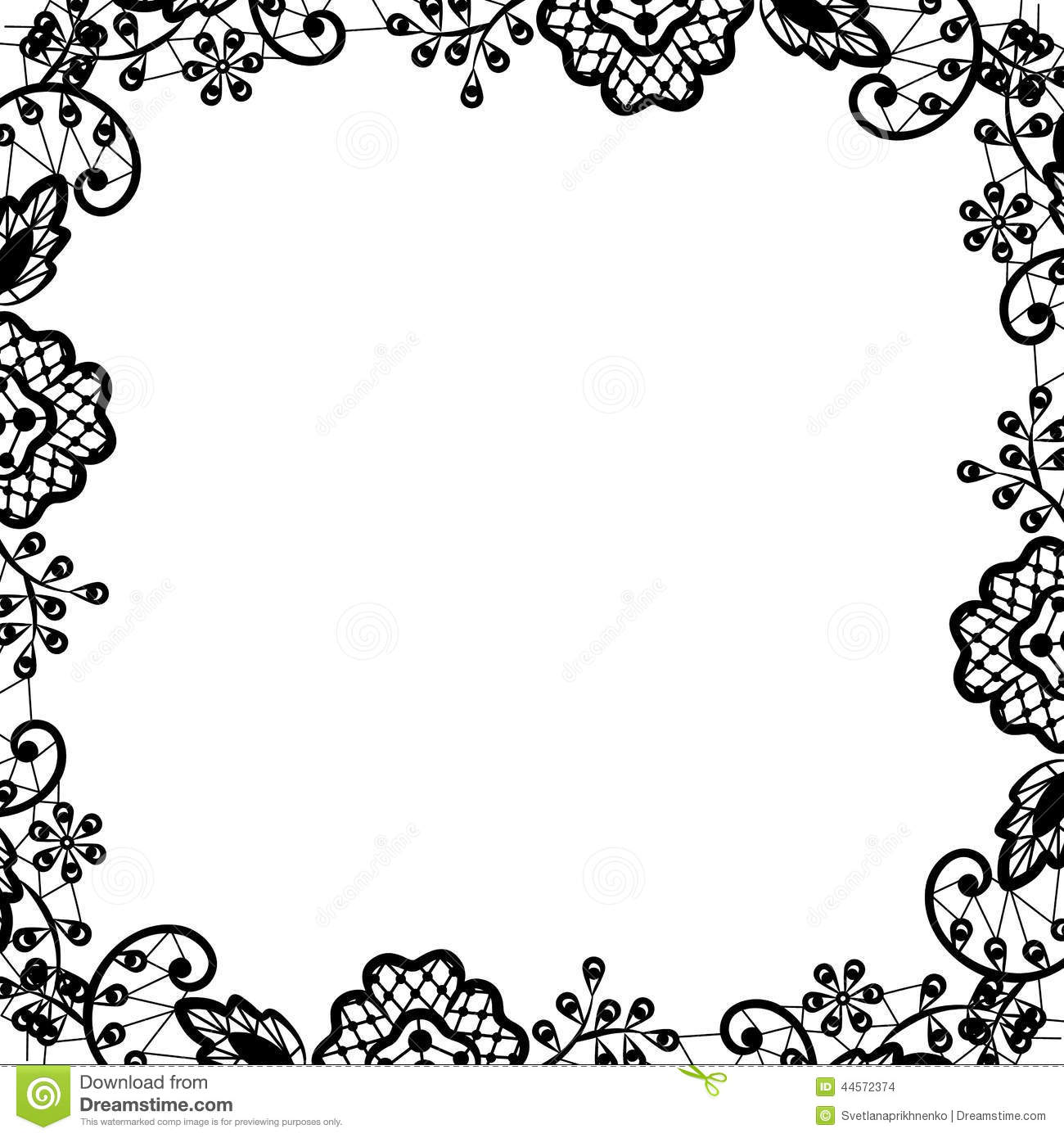 Black Lace On White Background Stock Vector - Illustration of ...