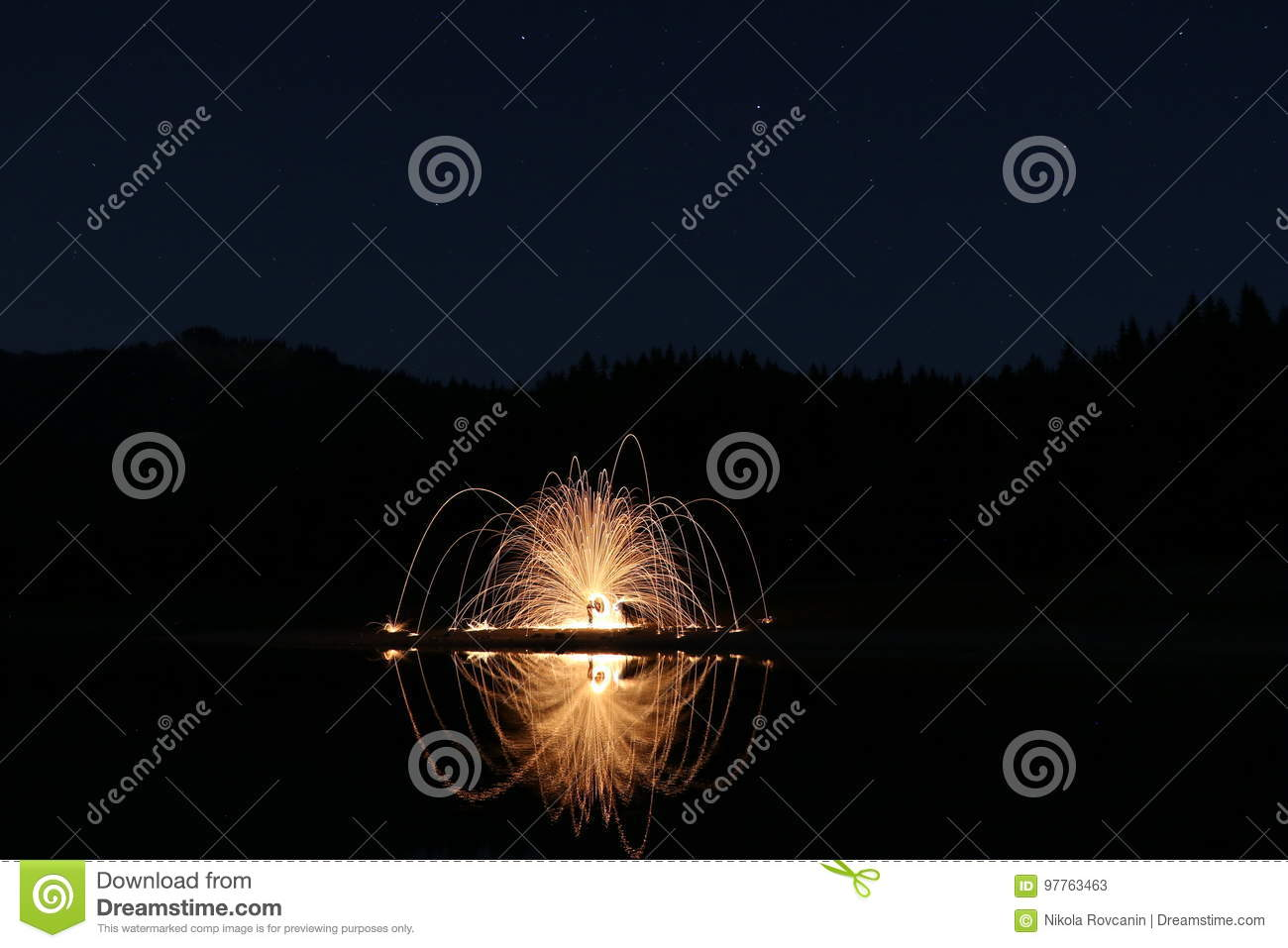 Black Lake with starts and Fireworks