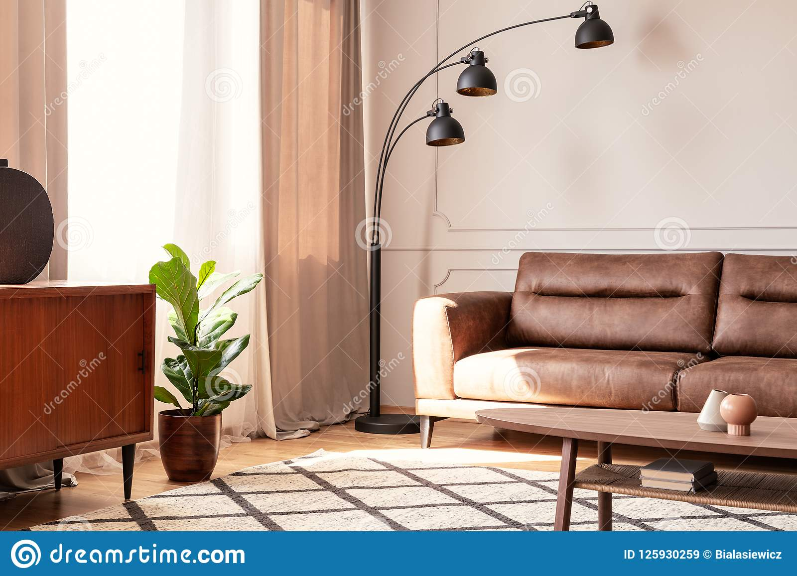 Pleasant Black Lamp Next To Leather Sofa In Retro Living Room Pdpeps Interior Chair Design Pdpepsorg