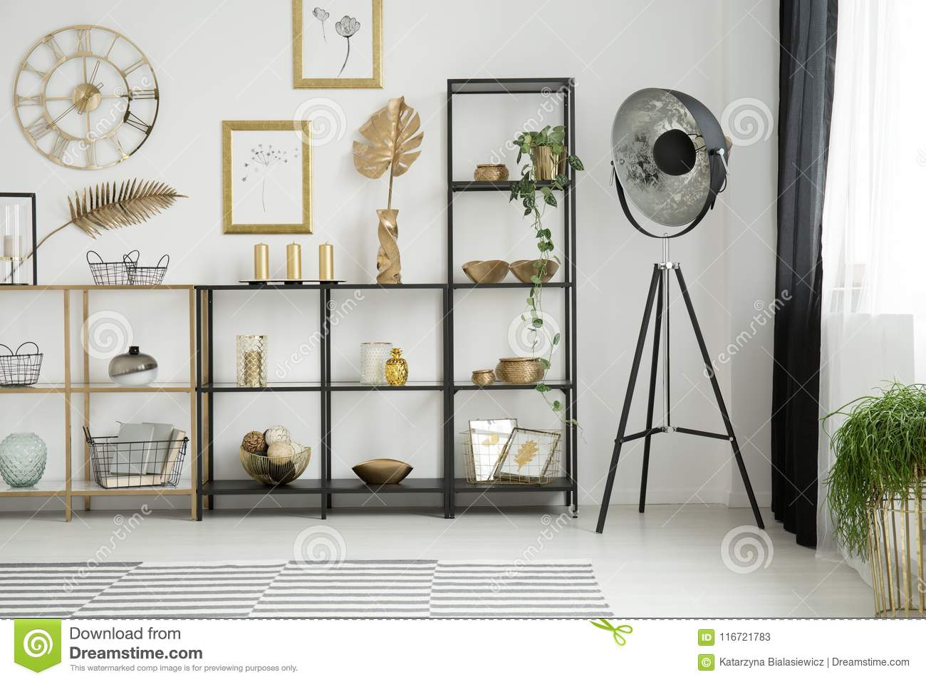Gold living room interior stock image. Image of gallery - 116721783