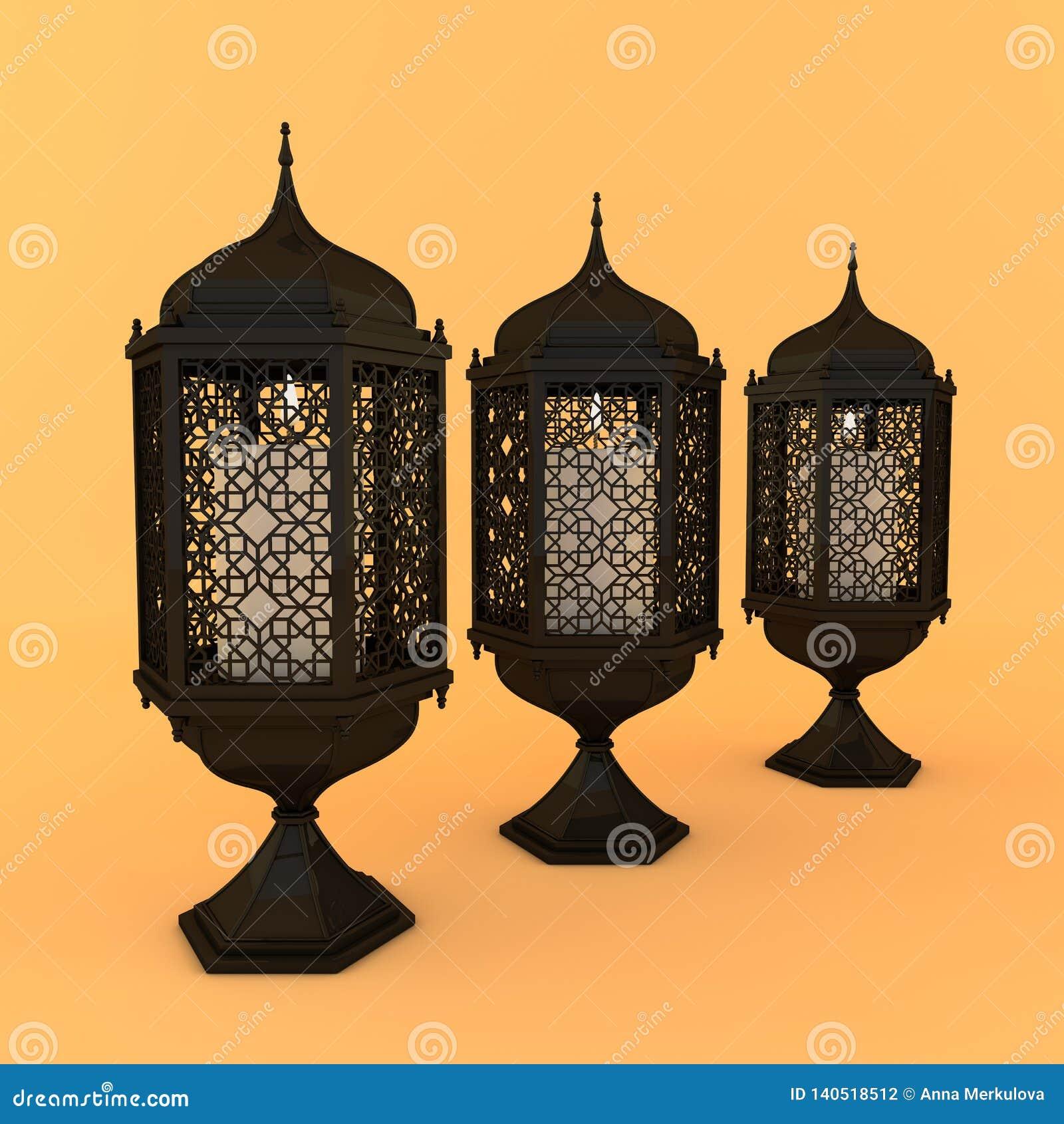 Black lantern with candle, lamp with arabic decoration, arabesque design. Concept for islamic celebration day ramadan kareem or