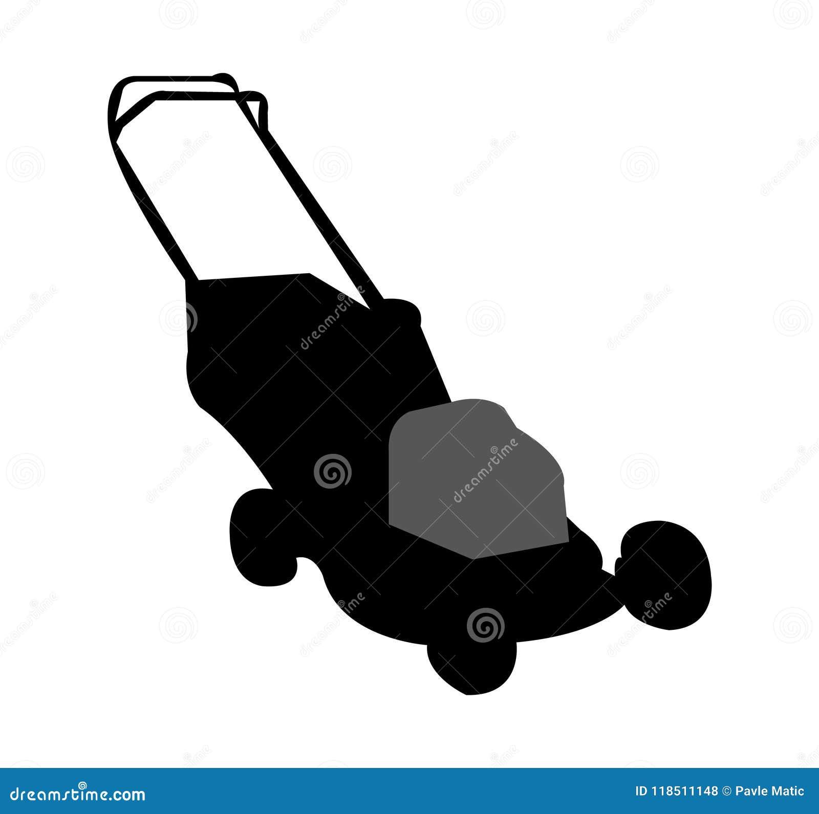 Black lawn mower silhouette