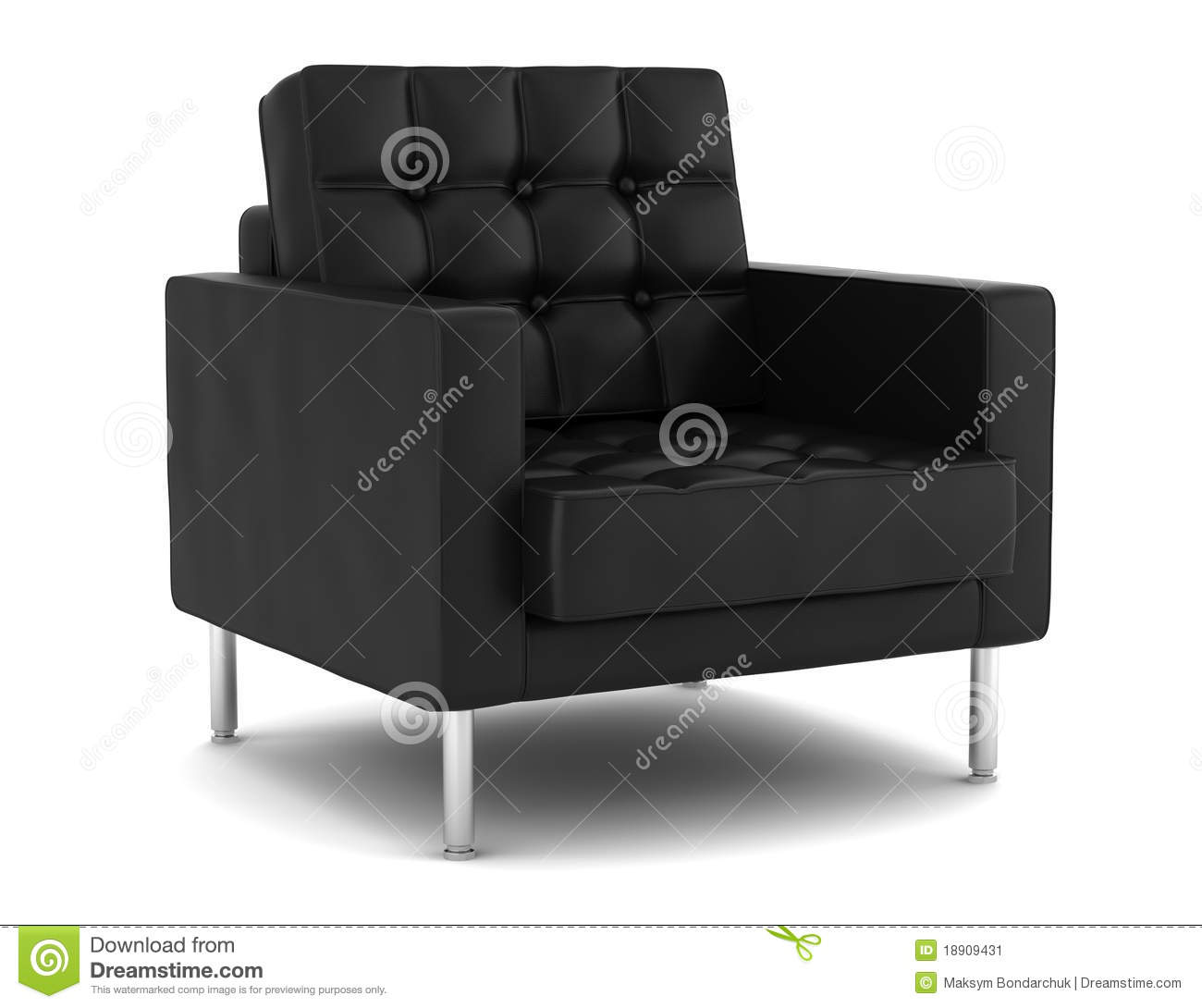 Black leather armchair isolated on white stock image image 18909431