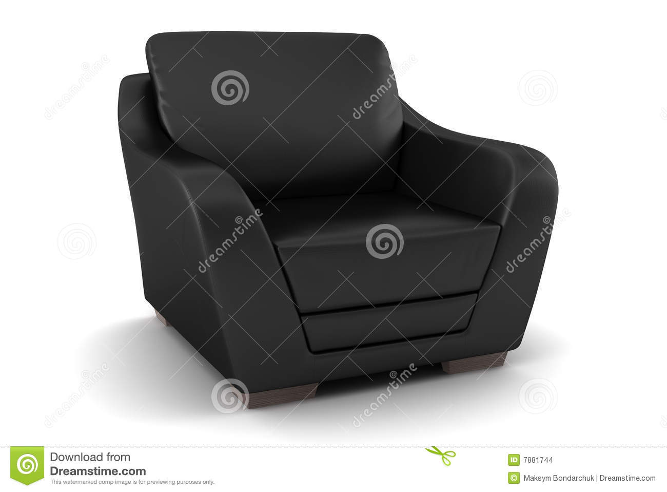 Black leather armchair isolated on white stock images image 7881744